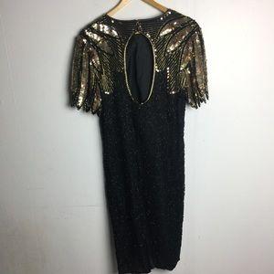 Stenay Dresses - Stenay Vtg Black Gold Open Back Sequin Dress 12
